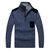 पुरुषों वूल फैशन आरामदायक पलओवर हाई कॉलर हाफ जिपर चेस्ट पॉकेट स्वेटर