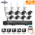 Hiseeu 1080P Wireless CCTV 8CH NVR Kit Outdoor IR Night Vision IP Camera WiFi Camera Security Surveillance EU Plug