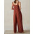 Wide-Legged Women Pure Color Sleeveless Strap Jumpsuit
