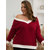 Plus Size Contrast Color V-neck Women Casual Knit Sweaters
