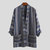 Mens Vintage Striped Printing Loose Cotton Cardigan Shirts