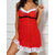 Lace-trim Christmas Style Pile Ruche Sling Backless Nightgown