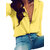 Long Sleeve Low Cut Casual Blouse Buttons Down Shirts