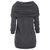 Women Shawl Collar Irregular Hem Patchwork Button Hooded Knit Sweaters