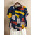Hit Color Printed Short Sleeve Button Summer T-shirts for Women
