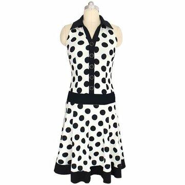 Dot Single Breasted Lapel Dresses Polka Dot Retro Vintage Dress Untuk Wanita