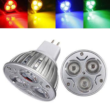MR16 3W DC 12V 3 LEDs Red/Yellow/Blue/Green LED Spotlight Bulbs