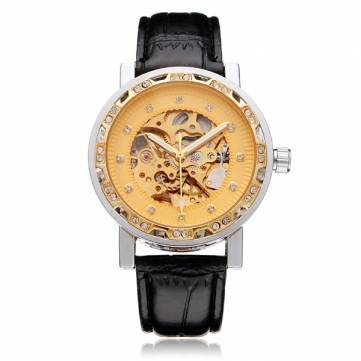 FORSINING Crystal Gold PU Leather Mechanical Flywheel Men Wrist Watch