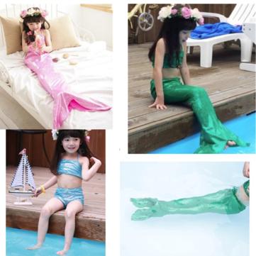 लड़की लिटिल मरमेड पूंछ बिकिनी सेट तैरने योग्य तैराकी राजकुमारी कॉस्टयूम बिकनी सेट