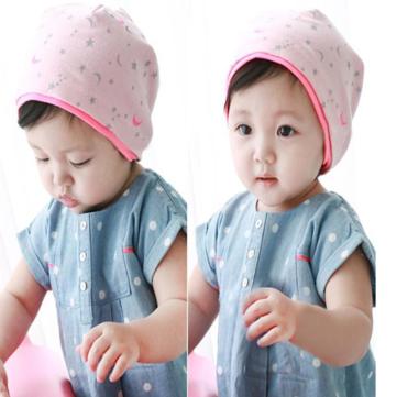 बेबी चिल्ड्रन मून स्टार्स प्रिंटिंग निट कैप्स बीनिज़ हैट