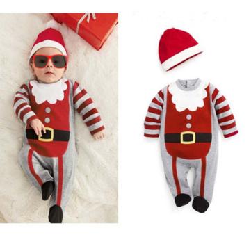 बेबी बॉयज़ गर्ल्स क्रिसमस स्ट्राइप रोपर जंपसूट हैट सेट