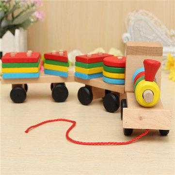 Juguetes tren rompecabezas de madera bloques de construcción geométricas eduque