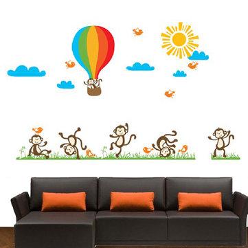 Monkey Balloon Wall Stickers Cartoon Wall Stickers House Decoration