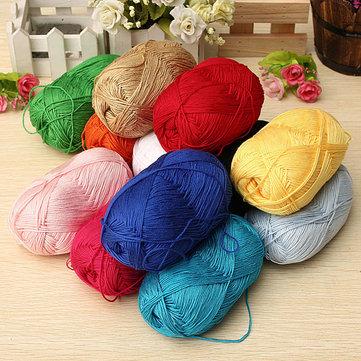 12 Colors Finger Ring Knitting Yarn Smooth Woolen Cotton Bamboo Yarn