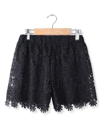 फैशन महिला आरामदायक मीठे प्यारा लोचदार कमर फीता शॉर्ट्स लघु पैंट