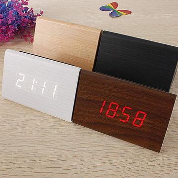 Reloj de Alarma de Termómetro de Madera Triangular LED Digital