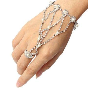 456ee89e0 EU Warehouse | Silver Plated Pearl Rhinestone Ring Bracelet Metal Chain  Bracelet sold out