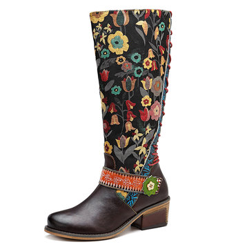 SOCOFY Women Retro Splicing Floral Pattern Mid-calf Leather Boots