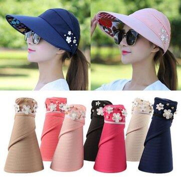 Phụ nữ mùa hè ngoài trời chống tia nắng bãi biển chống nắng Sun Hat Hoa In mũ