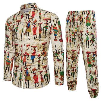 Nationellt Mönster Utskrift Bomullslinne Kostymer för män