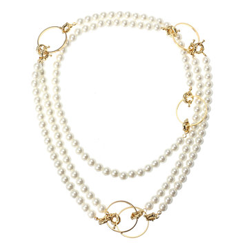 JASSY® Fashion 18K Gold Plated Long Pearls Necklace Gift for Women
