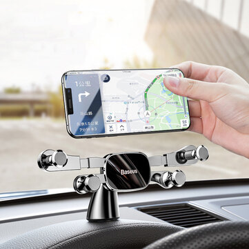 Baseus Horizontal Direct-view Gravity Linkage Automatic Lock Dashboard Car Mount Car Phone Holder For 4.7 Inch-6.5 Inch Smart Phone for iPhone 11 for Samsung Note 10 Redmi Note 8 Pro