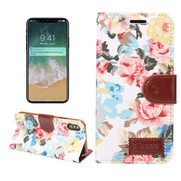 Bakeey Beskyttelsesveske til blomsterkluts kortspor for iPhone X/6 / 6S Plus/7/8 Plus