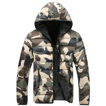विंटर फैशन कैमो थिक वॉर्म हूडेड गद्देदार जैकेट