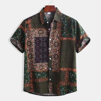 Mens Etnisk stil Mönster Utskrift Casual Mode Skjortor