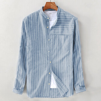 Mens Vintage Cotton Breathable Striped Loose Comfy Long Sleeve Casual Shirts
