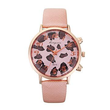 HY Bright Skin Leopard Clock Dial Lady Rose Gold Shell Snakeskin Pattern Belt Quartz Watch