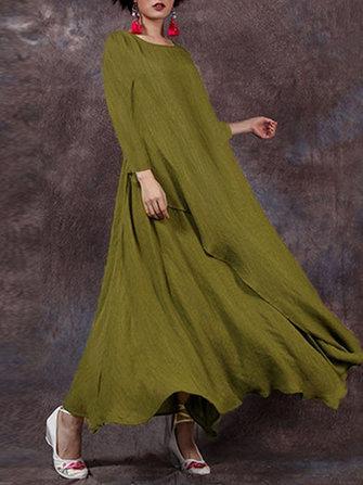 Celmia Gevşek Gevşek Kadın Katı Renkli Uzun Kollu Vintage Maxi Elbise