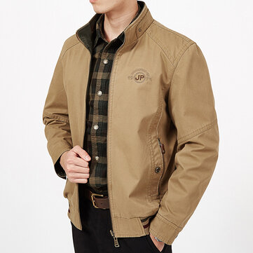 Mens Big Size Double Wear Stand Collar Outdoor Cotton Embroidery Jacket
