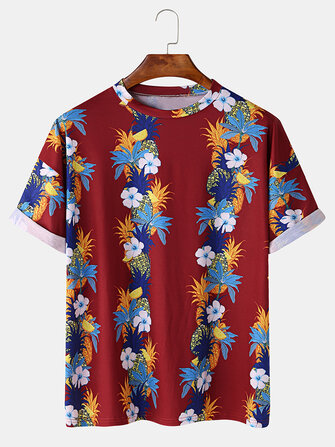 Mens Fashion Floral Printing Crew Neck Breathable Short Sleeve Casual T-Shirts