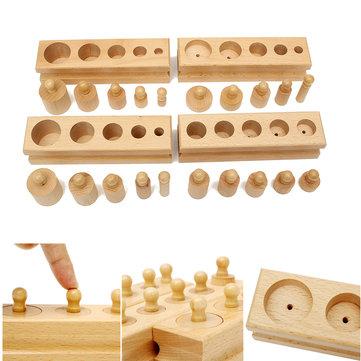 Knobbed Cylinder Blocks Family Set Wooden Montessori Educational Toy