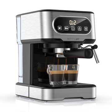BlitzWolf BW_CMM2 Espresso Machine 20 Bar High Pressure Extraction Milk Frothing Accurate Control Dual System Safe Protection 1100W