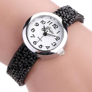 DUOYA DY005レトロスタイルレディースブレスレットウォッチギフトレザーストラップクォーツ時計