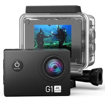 G1 4K Ultra High Definition Action Camera Waterproof 170 Degree Wide Angle WiFi Outdoor Sports Cam Remote Control Accessories Kit Coupon Code and price! - $40