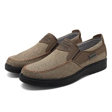 Zapatos Oxfords Slip On de Banda Elástica Transpirable Casual de Estilo Old Peking para Hombres