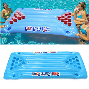 PVC Inflatable Beer Pong Ball Table Water Floating Raft Lounge Pool Drinking Game 24 Cups Holder