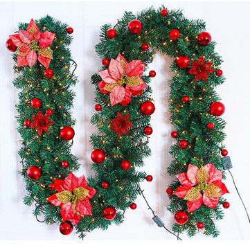 2.7 एम क्रिसमस सजावट गहने क्रिसमस ट्री गारलैंड रतन बाउंस होम वॉल पाइन सजावट