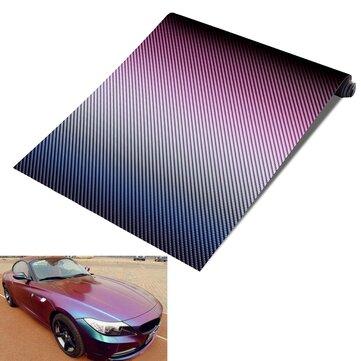 Película del abrigo de la decoración del coche del vinilo Moto de la fibra de carbono del camaleón de 30cmx152cm