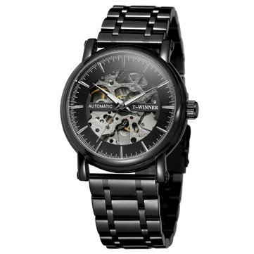 Alloy Automatic Mechanical Watch Full Steel Fashion Hollow Business Men Watch