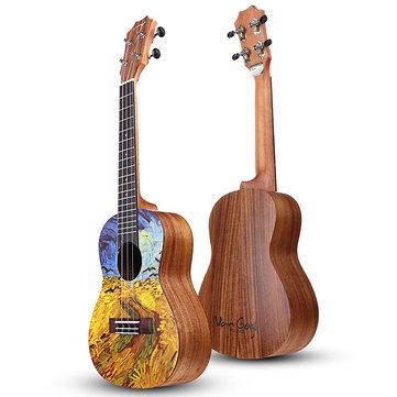 Tom VGW-C2 Van Gogh-serien 23 tommers Acacia Wood Ukulele Med Gig Bag