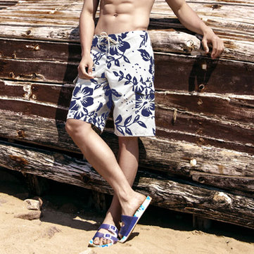 Buy Men Floral Printed Quick Drying Drawstring Board Shorts with Litecoins with Free Shipping on Gipsybee.com