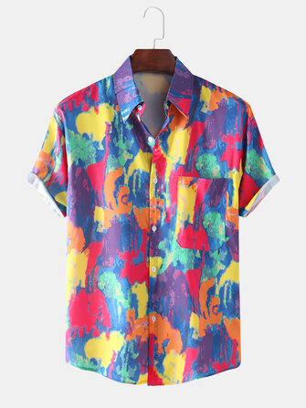 Mens Fashion Color Block Printing Breathable Short Sleeve Casual Shirts