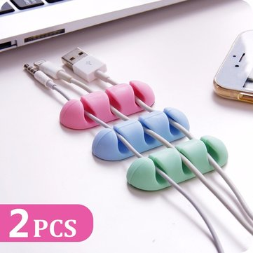Bakeeyu2122 2PCS TPU Cable Clips Cable Holder Desktop Cable Organizer Cord Management Headphone Holder