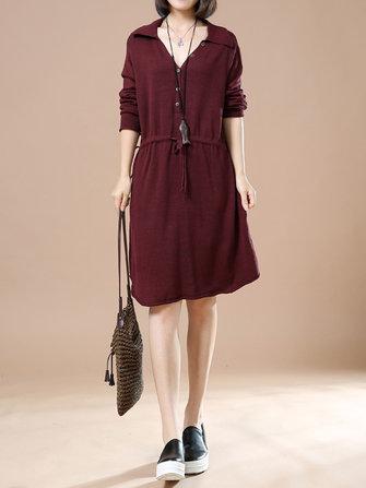 L-5XL Fashion Women Pure Color Drawstring Button Midi Dress