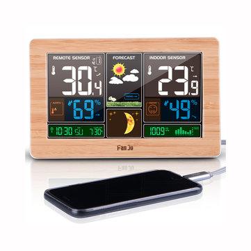 FanJu FJ3378 Cyfrowy budzik Stacja pogodowa Temperatura zewnętrzna Miernik wilgotności Faza księżycowa Prognoza pogody Ładowarka USB