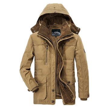 पुरुषों मोटी फ्लीस शीतकालीन कोट हूडेड आउटडोर ठोस रंग जैकेट